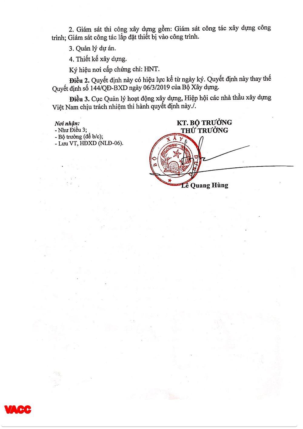 Quyết định số 291/QĐ-BXD công nhận VACC đủ điều kiện cấp Chứng chỉ hành nghề
