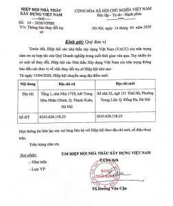 Thông báo thay đổi trụ sở Hiệp hội các Nhà thầu xây dựng Việt Nam